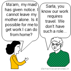 caregiver negotiates with boss to work from home