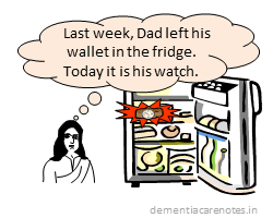early dementia patient confused and misplaces watch in fridge