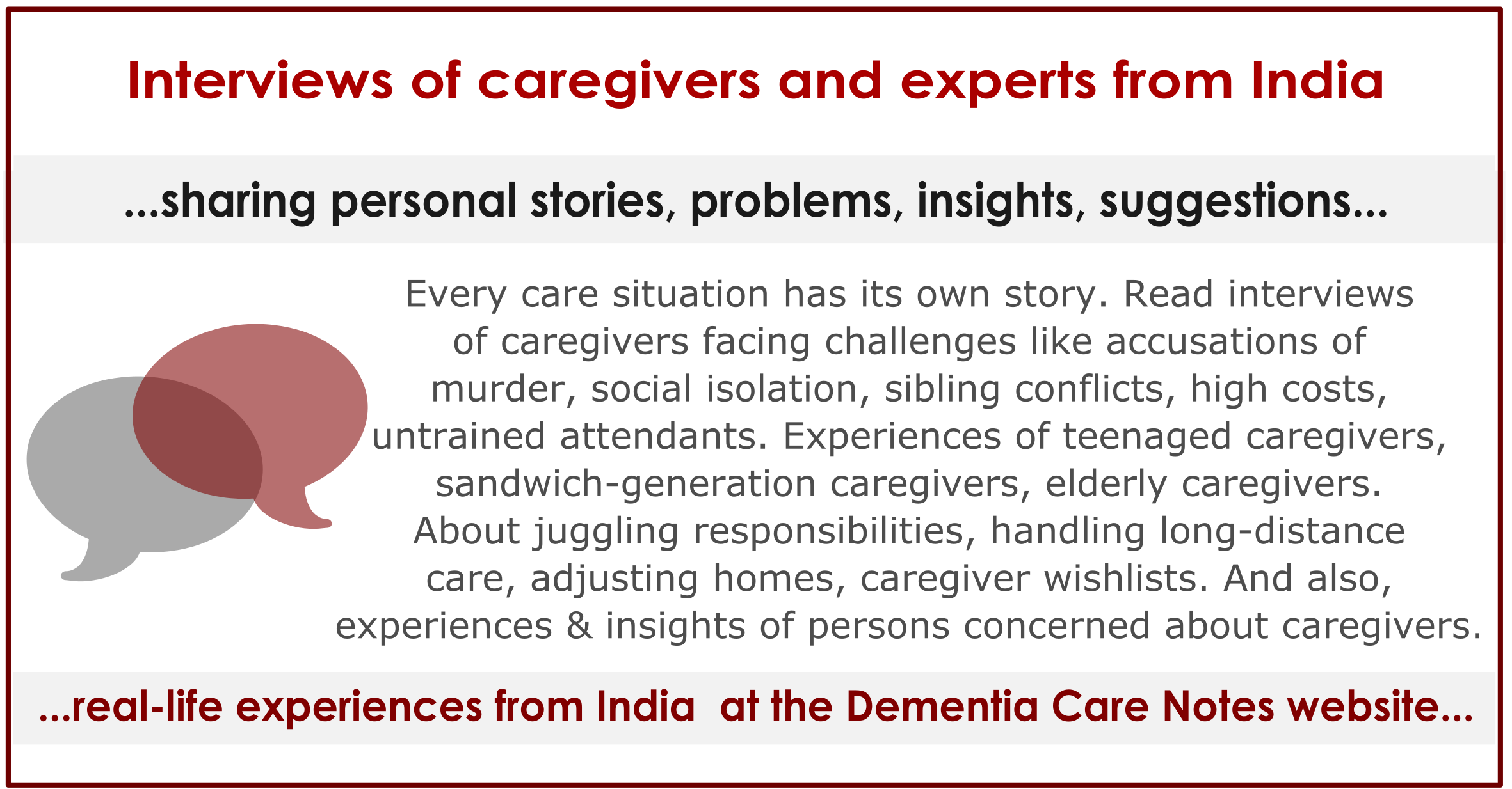 Voices: Interviews with dementia caregivers, volunteers, and